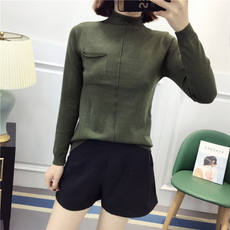 Huiyige spring long-sleeved high-necked turtleneck sweater loose casual wild sweater sweater stretch thin bottom shirt female