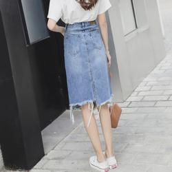 高腰显瘦不规则牛仔裙女2018新款中长款半身裙短裙春包臀韩版夏季