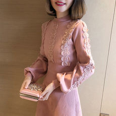 2018 autumn and winter women's new half-high collar lantern long-sleeved knit bottoming skirt sweet lace side sweater dress