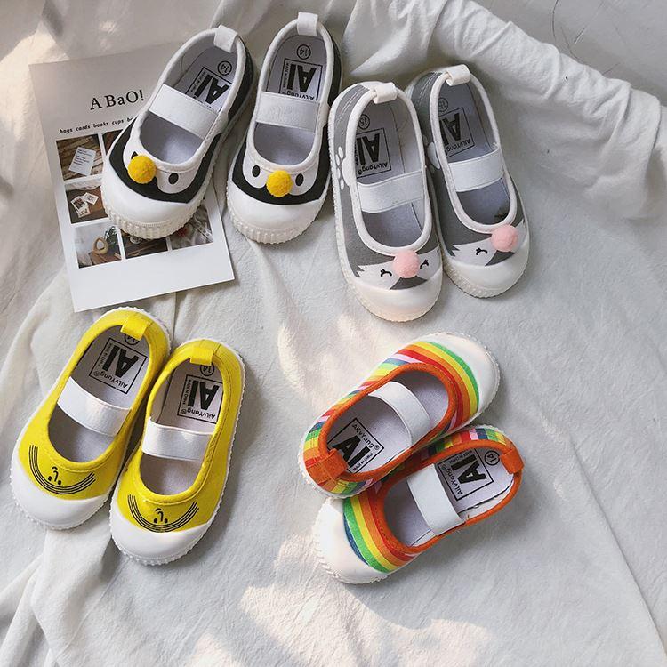 宝宝帆布鞋一脚蹬软底男小中童女宝宝幼儿园居家室内鞋学步鞋布鞋