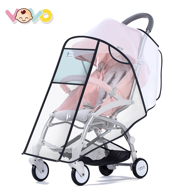 VOVO婴儿推车防风雨罩通用透明挡风全罩儿童宝宝伞车雨衣推车配件