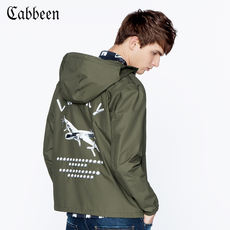 Carbine men's spring and summer loose olive green jacket casual black and white printing youth hooded jacket H
