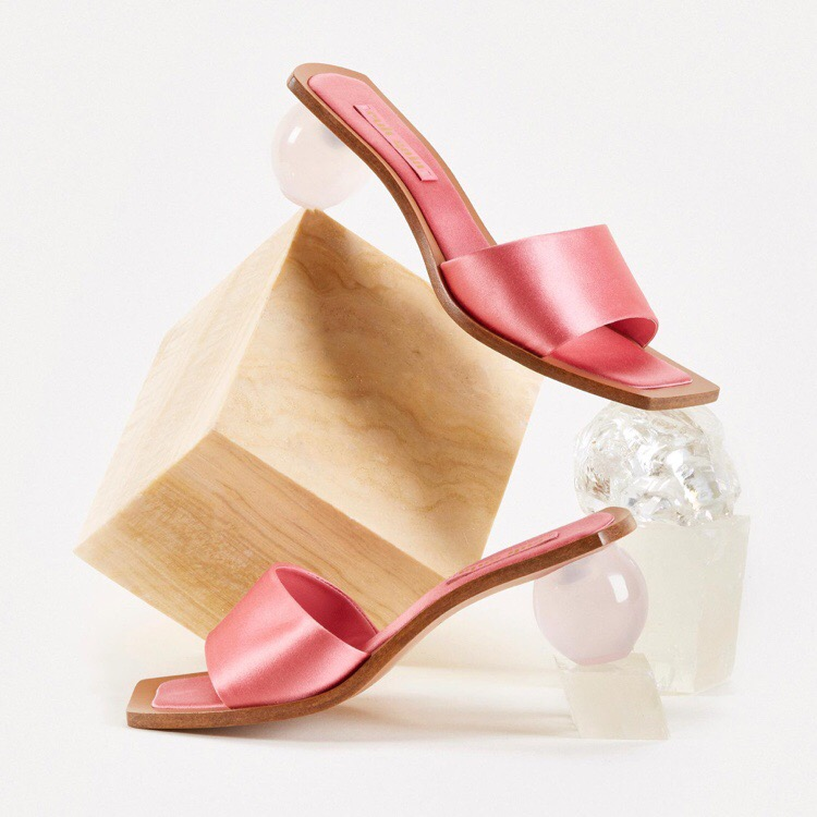 cult gaia2019欧美新款透明鸡蛋跟拖鞋女isn一字露百搭室外拖鞋夏