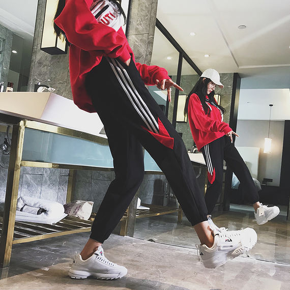 Hong Kong-flavored sports pants female students loose Korean version of Europe and the United States hip-hop hook pants autumn thin legs casual harem pants