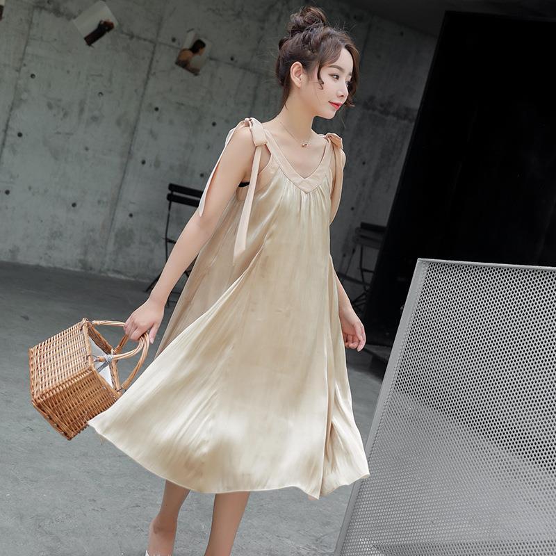 欧美女装吊带纯色孕妇装长裙连衣裙夏季孕妈外穿裙厂家直批代发