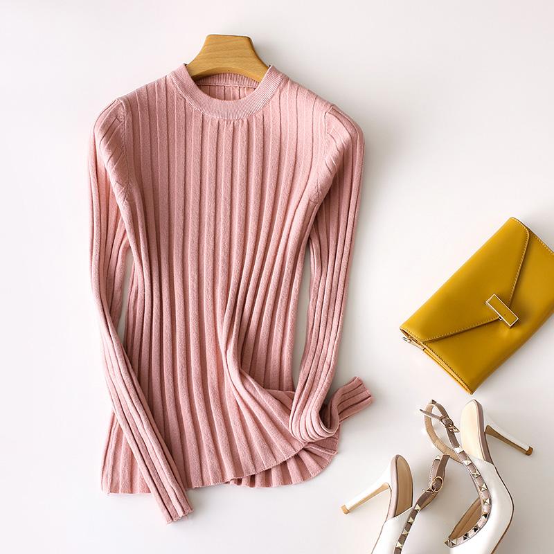 网红针织衫羊毛衫贴身打底长袖圆领V领纯色显瘦2019春季新款薄款
