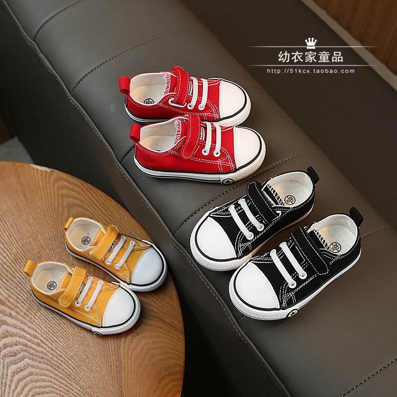 儿童帆布鞋透气开学季小白鞋女童演出鞋男童板鞋子宝宝布鞋黑色单