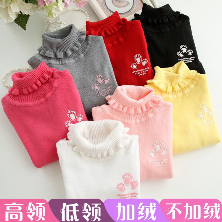 秋冬款中小女童针织衫毛衣打底衫儿童装宝宝女孩加绒套头长袖T恤