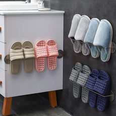 Bathroom put slippers storage artifact dormitory bathroom suction cup wall hanging nail-free punching toilet space saving shoe rack