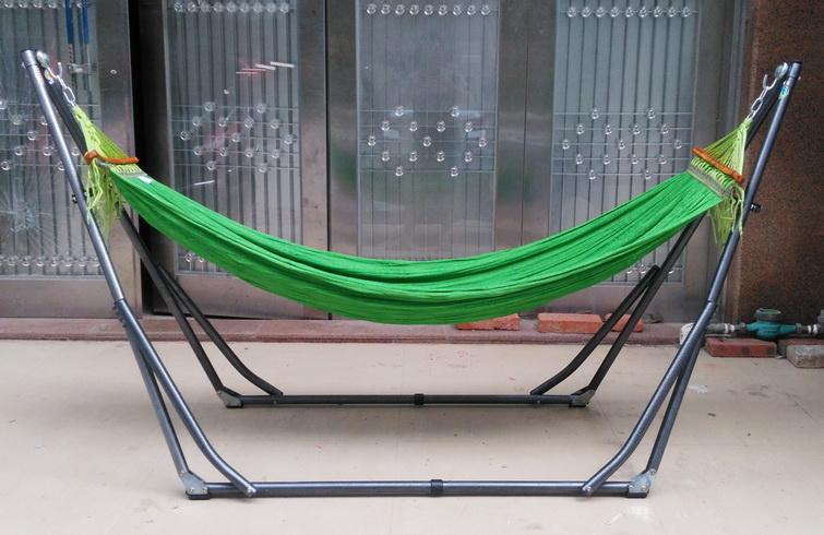 包邮进口折叠吊床越南班梅网床室内户外黑色加厚架单人承200公斤