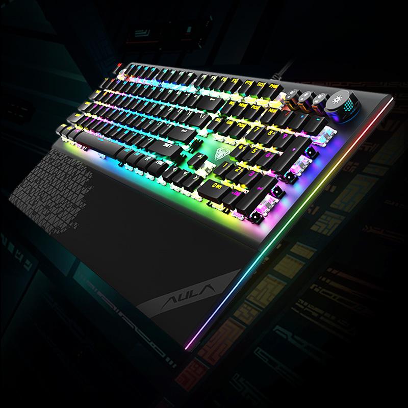 狼蛛L2098幻彩RGB机械键盘青轴黑轴水晶冰轴游戏网红台式电竞外设