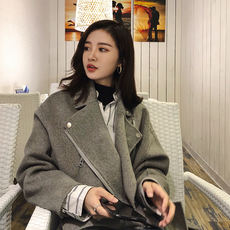Dahuayuan 2018 new Korean version of autumn and winter clothing female cashmere was thin chic Nizi coat jacket short double-sided