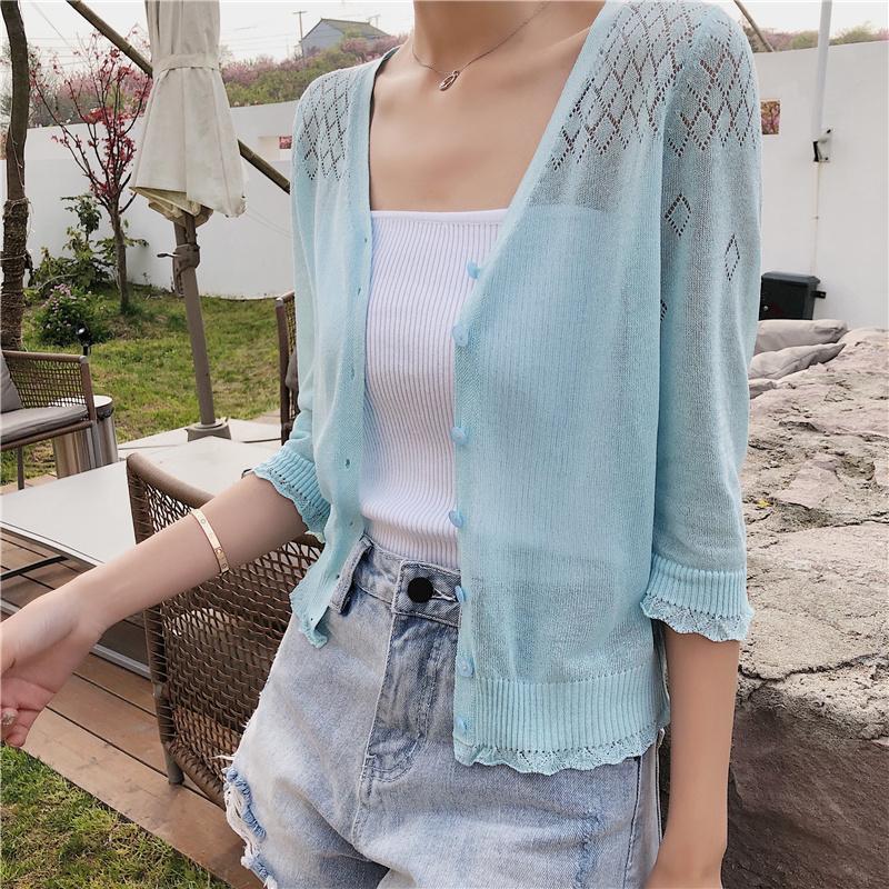 空调衫女冰丝开衫外套夏季2019新款镂空针织衫防晒衫短款披肩外搭