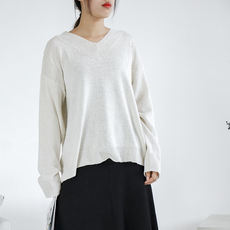 I#24 solid color wild V-neck long-sleeved knit sweater autumn new Korean women's shirt