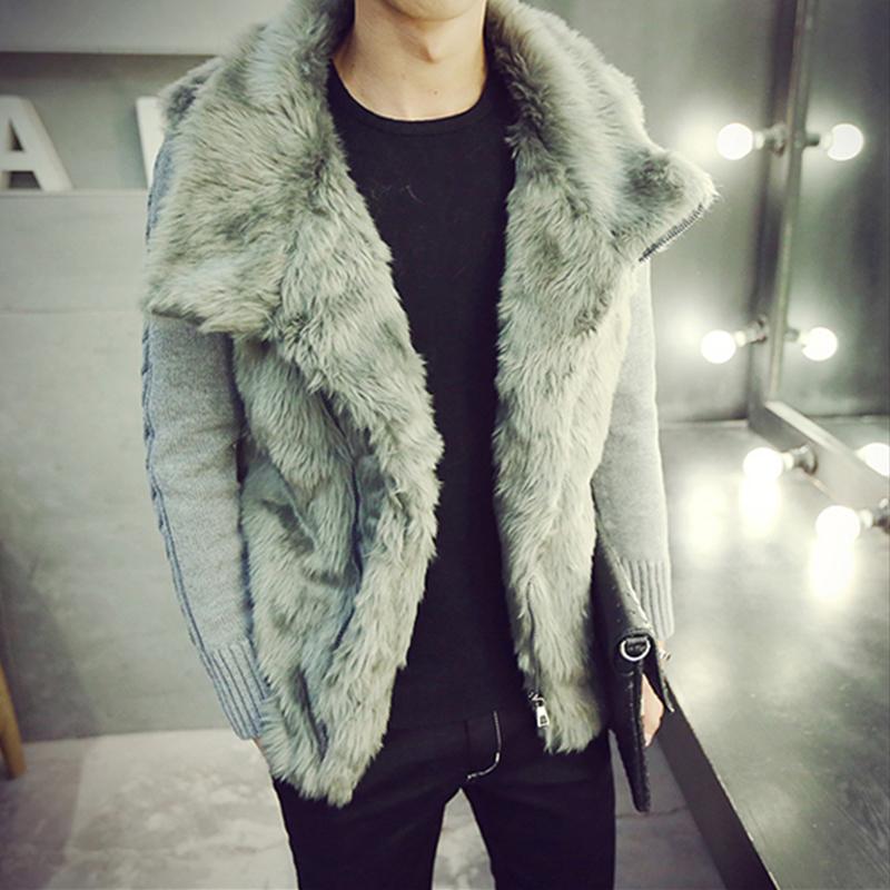 2017秋冬男士大毛领棉衣 韩版翻领毛绒外套林弯弯 加厚针织袖皮草