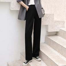 Falling wide leg pants female spring and autumn mopping trousers loose high waist drape black straight suit casual summer pants