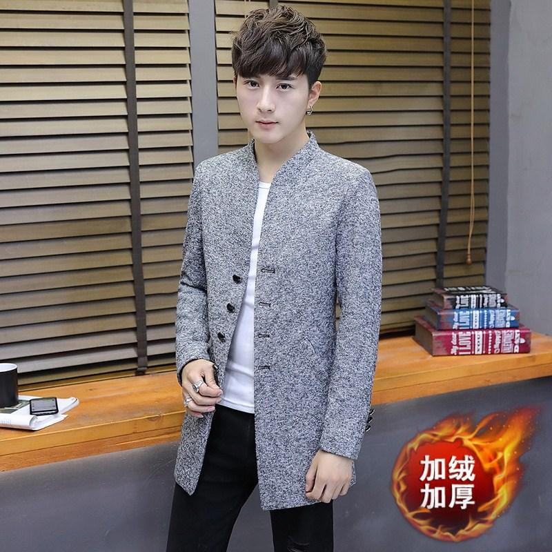 男士外套2017新款韩版中长风衣男装季加绒衣服毛呢帅气大衣