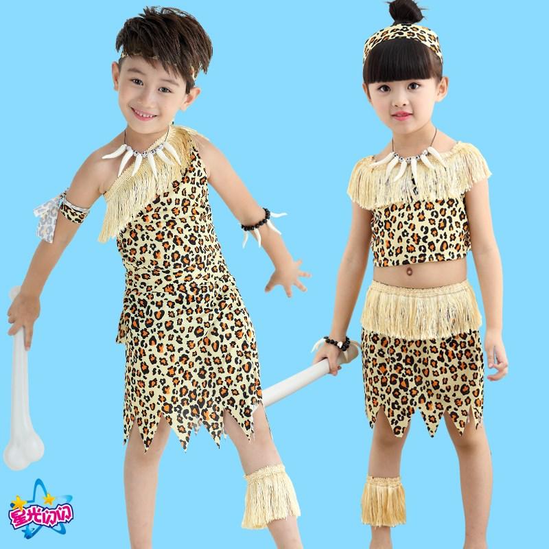 万圣节儿童野人演出服猎人印第安表演服原始非洲成人豹纹装扮服装