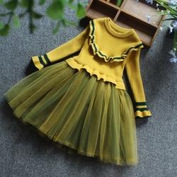 女童装2018秋冬新款韩版儿童针织毛衣公主裙中小童女孩长袖连衣裙