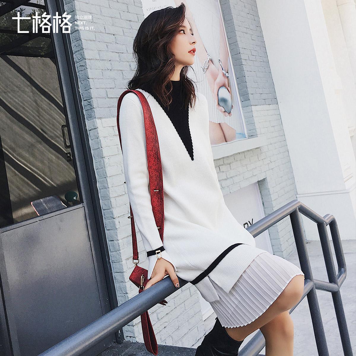 Othermix七格格2017秋装新款韩版百褶拼接装个拼接开叉袖连衣裙女