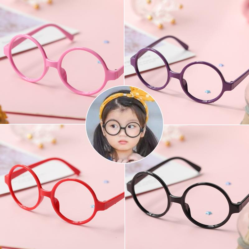 儿童眼镜框无镜片宝宝玩具眼镜潮时尚男女童配饰圆框可爱卡通镜框