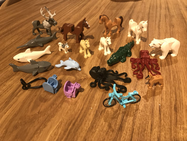 乐高小动物合集 乐高动物配件 鲨鱼 麋鹿 鳄鱼 哈士奇 马 等