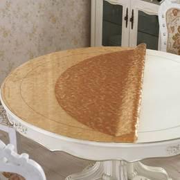 茶色大圆桌台布上的圆边饭卓垫办公桌垫攴桌透明软皮时尚简约餐桌