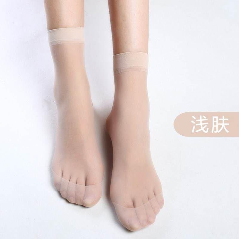 水晶袜子女夏天超薄丝袜短袜超薄透明隐形丝光防勾丝耐磨灰色薄款