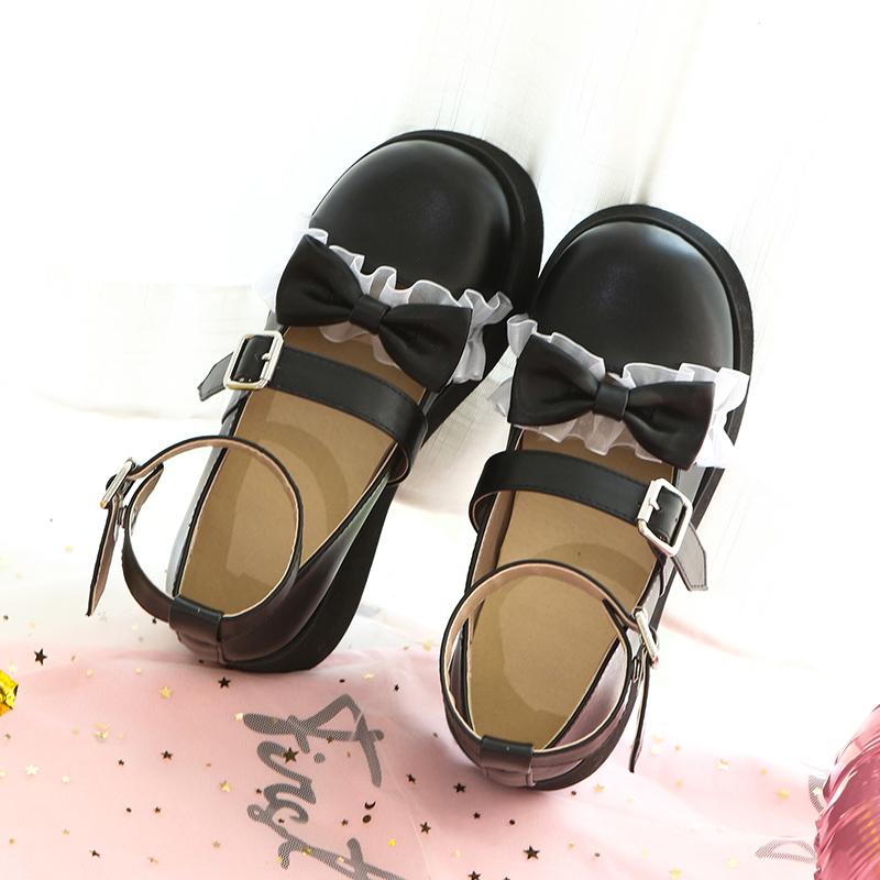 洛丽塔lolita圆头厚底蕾丝花边蝴蝶结女鞋软妹甜美可爱学生女单鞋