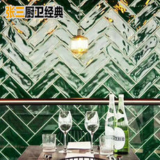 Nordic style black and white gray tile kitchen bathroom small wall brick 75x300 dark green glazed tile wave surface