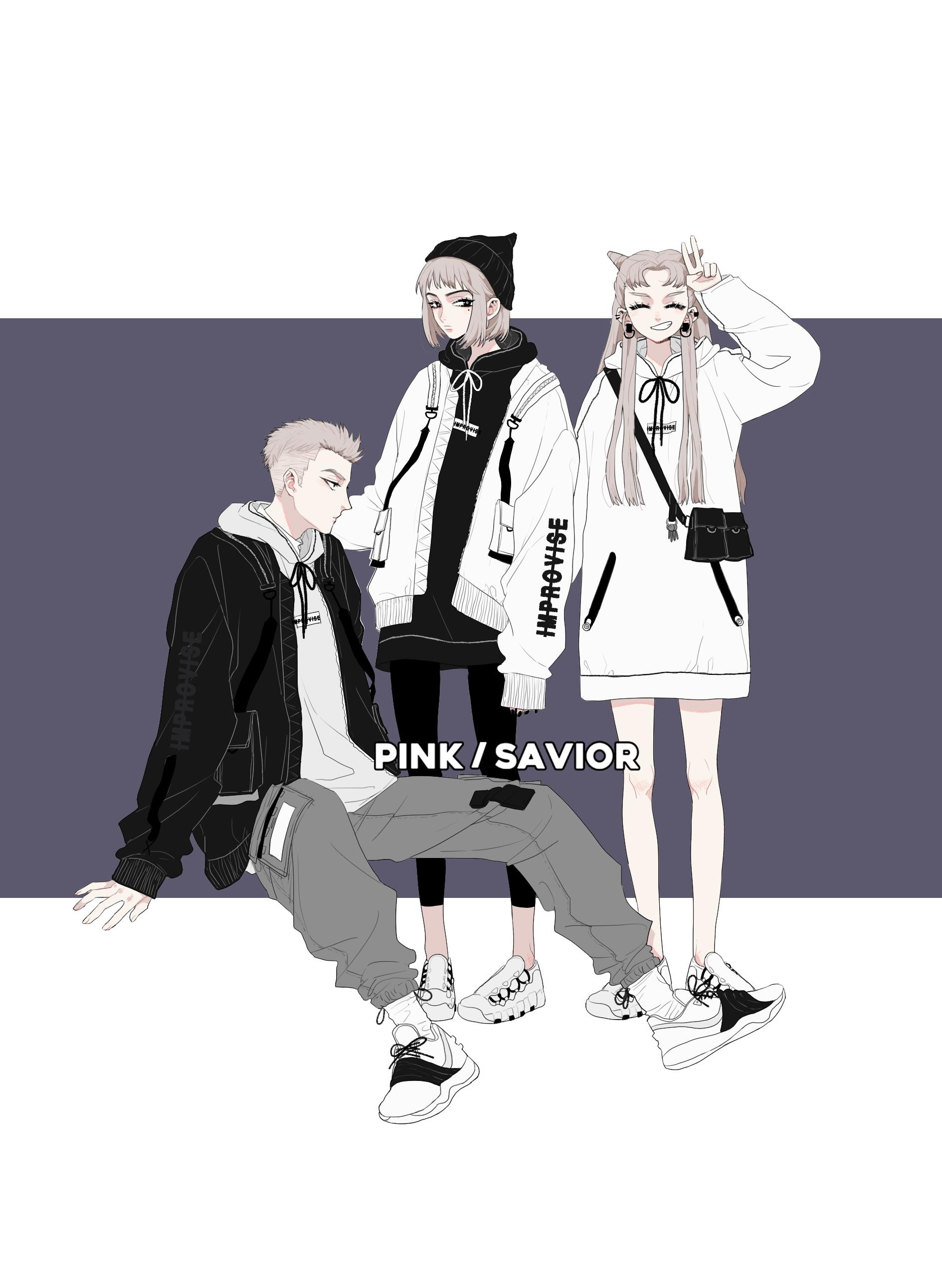 PINK/SAVIOR即興創作外套解構主義衛衣多色套裝(上期)
