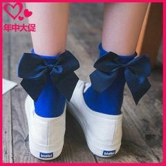 【福利2-10双】蝴蝶结袜子女棉袜中筒堆堆袜日系韩版春夏薄款袜子
