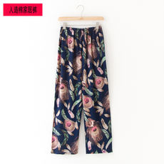 Ms. pajamas summer rayon loose large size straight home pants cotton trousers middle-aged air conditioning home pajamas