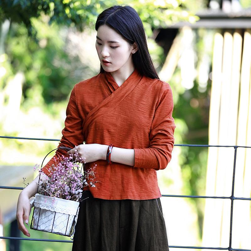 【雁荷】吉祥羽儿原创秋季新款竹节棉长袖T恤女中式交领打底上衣