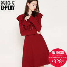 DPLAY Depala 2018 Autumn Europe and the United States commuter wine red V-neck ruffled openwork stitching long-sleeved dress