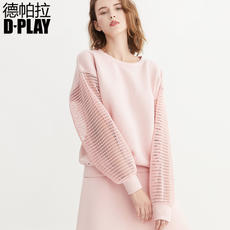 D-PLAY2018 spring and summer new Europe and America pink semi-transparent lantern sleeves stitching sweater round neck wild long-sleeved T-shirt