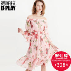 DPLAY2018 spring and summer new European and American foundation printing a word collar lotus leaf sleeves waist chiffon dress