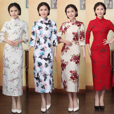 Beijing Chinese style etiquette welcome dress wedding celebration cheongsam long section Slim chair evening dress rental