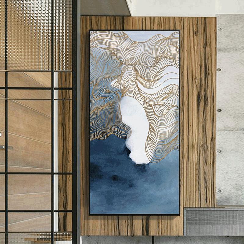 现代简约抽象画挂画线条玄关装饰画竖款走廊过道壁画客厅挂画酒店图片