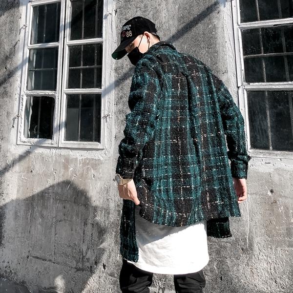 廓形宽松金线羊毛格纹加长高街潮人网红国潮男女鹿晗同款长袖衬衫