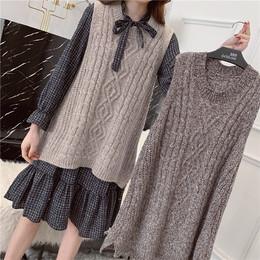 连衣裙套装女2019春季新款韩版中长款学生马甲宽松针织衫两件套潮