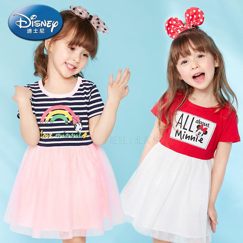 迪士尼女童装夏装婴儿童幼儿公主裙潮宝宝超洋气网纱裙短袖连衣裙