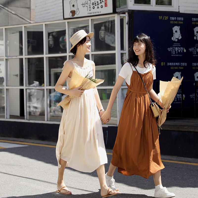 叙旧可调节肩带吊带连衣裙2019新夏流行裙子女 一部分的我 Q6197