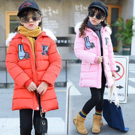 [Explosive models] New cotton clothes girls winter warm cotton 6 clothes new 7 children 8 thick 9 large children 11 years old