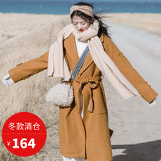 Plum is cooked in the literary forest, the long woolen coat, the retro Hong Kong-style woolen coat [winter clearance]