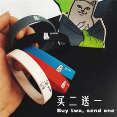 American Street Hip Hop Neutral Wild Middle finger 贱Cat Tide brand Color Silicone Student Men and women Lovers Bracelets