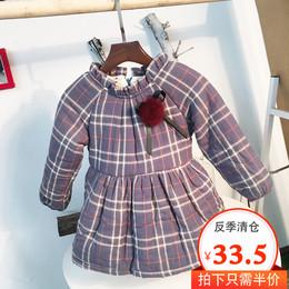 【反季5折清仓】女童韩版新款连衣裙加绒加厚长袖秋冬装裙子潮