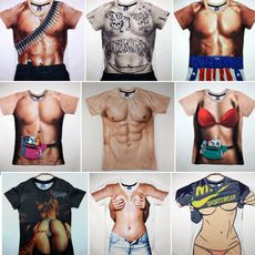 Annual performance t-shirt muscle male short-sleeved shirt pectoral muscle abdominal t-shirt evil funny props abdominal muscle muscle