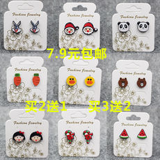 New Christmas adorable cute Meng collection magnet ear clip without pierced earrings female clip-style ear stud earrings