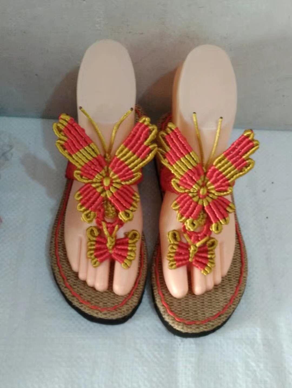 人字拖8号 双飞蝶 中国结拖鞋套件 时尚手工编织 女士凉拖鞋 蝴蝶